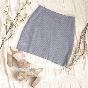 Blue Micro Houndstooth Mini Skirt